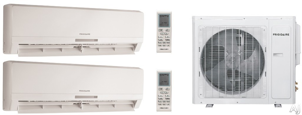 Frigidaire FRIG248 2 Room Mini Split System with 28,000 BTU Multi-Zone Mini Split Outdoor Air Conditioner, 28,400 BTU Heat Pump, Inverter Technology, Low Ambient Operation, Quick Cool and Warm, 3 Fan Speeds, Effortless Temperature Control, 24-Hour Timer
