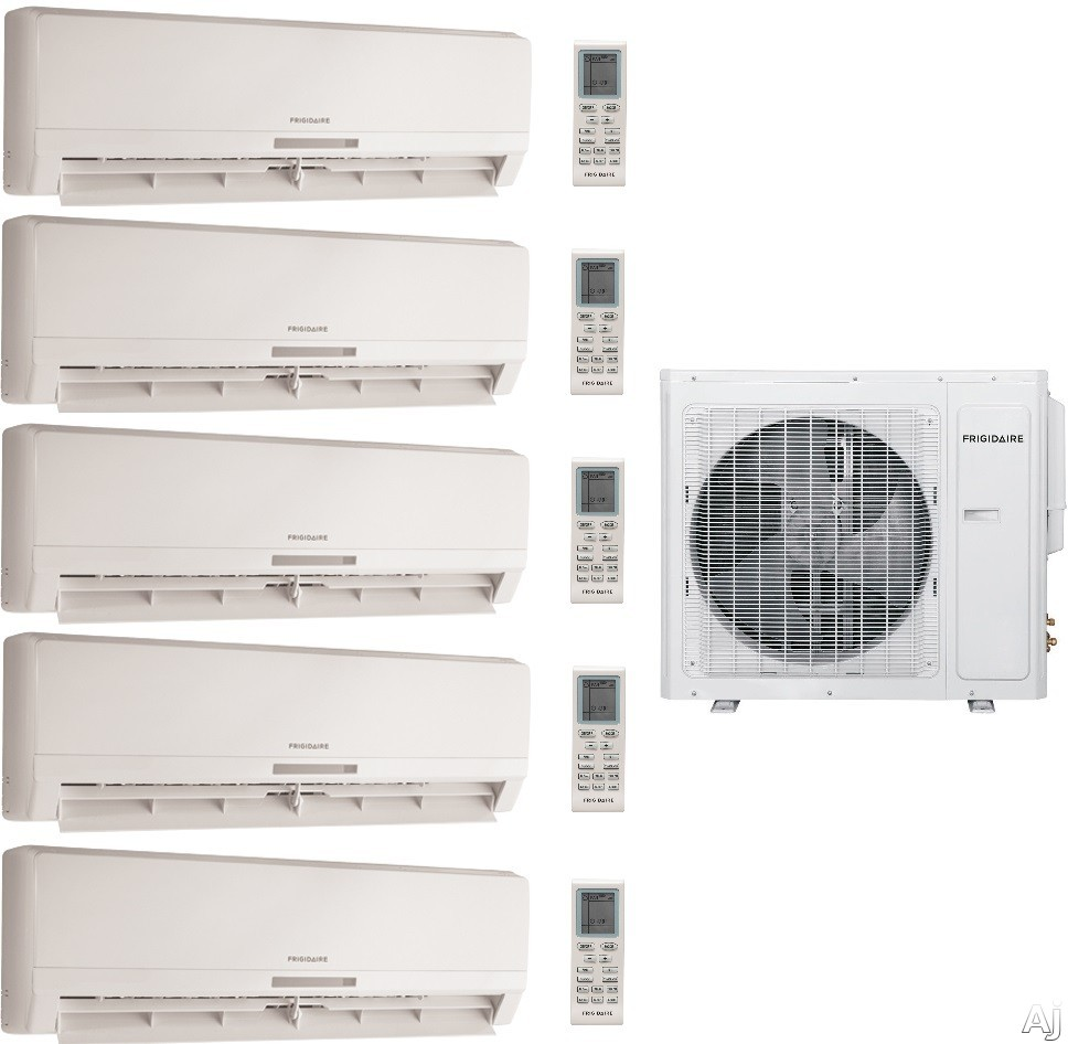 Frigidaire FRIG3617 5 Room Mini Split System with 34,400 BTU Multi-Zone Mini Split Outdoor Air Conditioner, 42,500 BTU Heat Pump, Inverter Technology, Low Ambient Operation, Quick Cool and Warm, 3 Fan Speeds, 24-Hour Timer, Sleep Mode and Effortless Rest