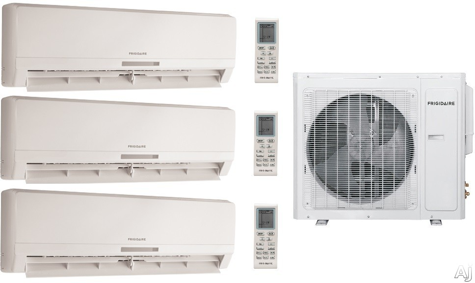 Frigidaire FRIG367 3 Room Mini Split System with 34,400 BTU Multi-Zone Mini Split Outdoor Air Conditioner, 42,500 BTU Heat Pump, Inverter Technology, Low Ambient Operation, Quick Cool and Warm, 3 Fan Speeds, 24-Hour Timer, Sleep Mode and Effortless Resta