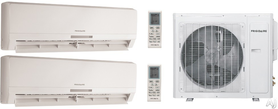 Frigidaire FRIG368 2 Room Mini Split System with 34,400 BTU Multi-Zone Mini Split Outdoor Air Conditioner, 42,500 BTU Heat Pump, Inverter Technology, Low Ambient Operation, Quick Cool and Warm, 3 Fan Speeds, 24-Hour Timer, Sleep Mode and Effortless Resta