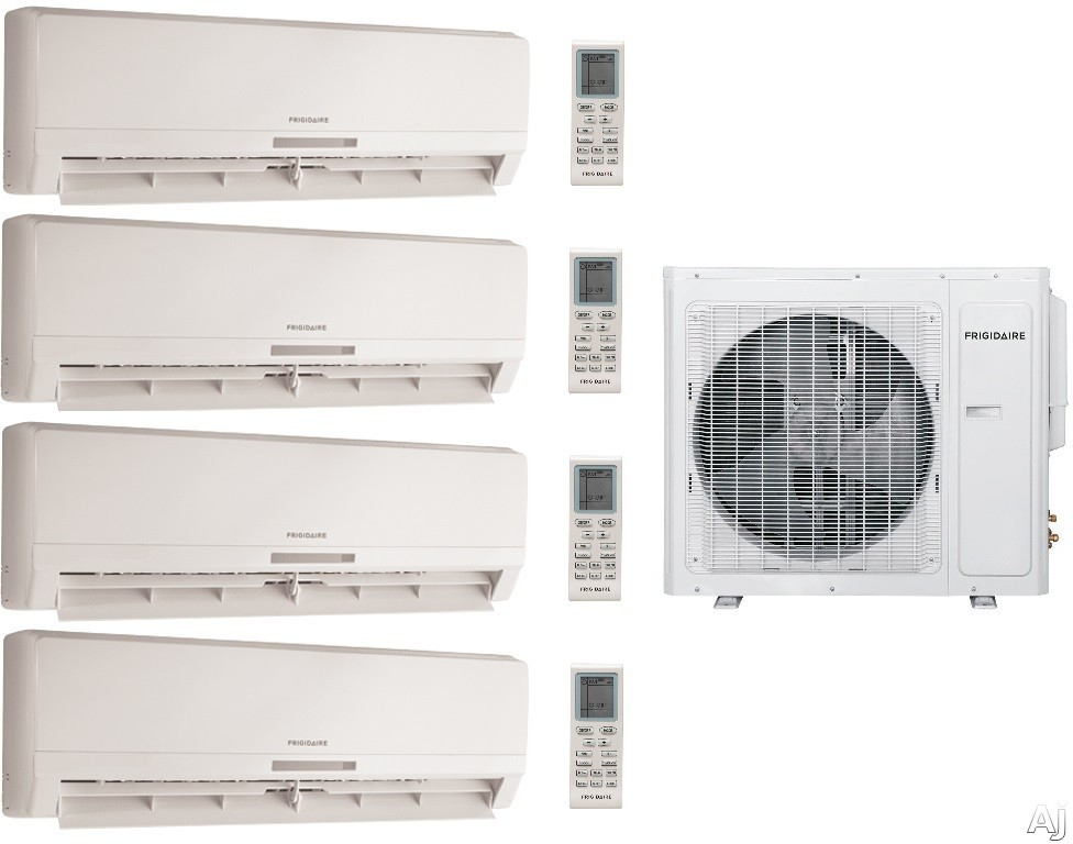 Frigidaire FRIG369 4 Room Mini Split System with 34,400 BTU Multi-Zone Mini Split Outdoor Air Conditioner, 42,500 BTU Heat Pump, Inverter Technology, Low Ambient Operation, Quick Cool and Warm, 3 Fan Speeds, 24-Hour Timer, Sleep Mode and Effortless Resta