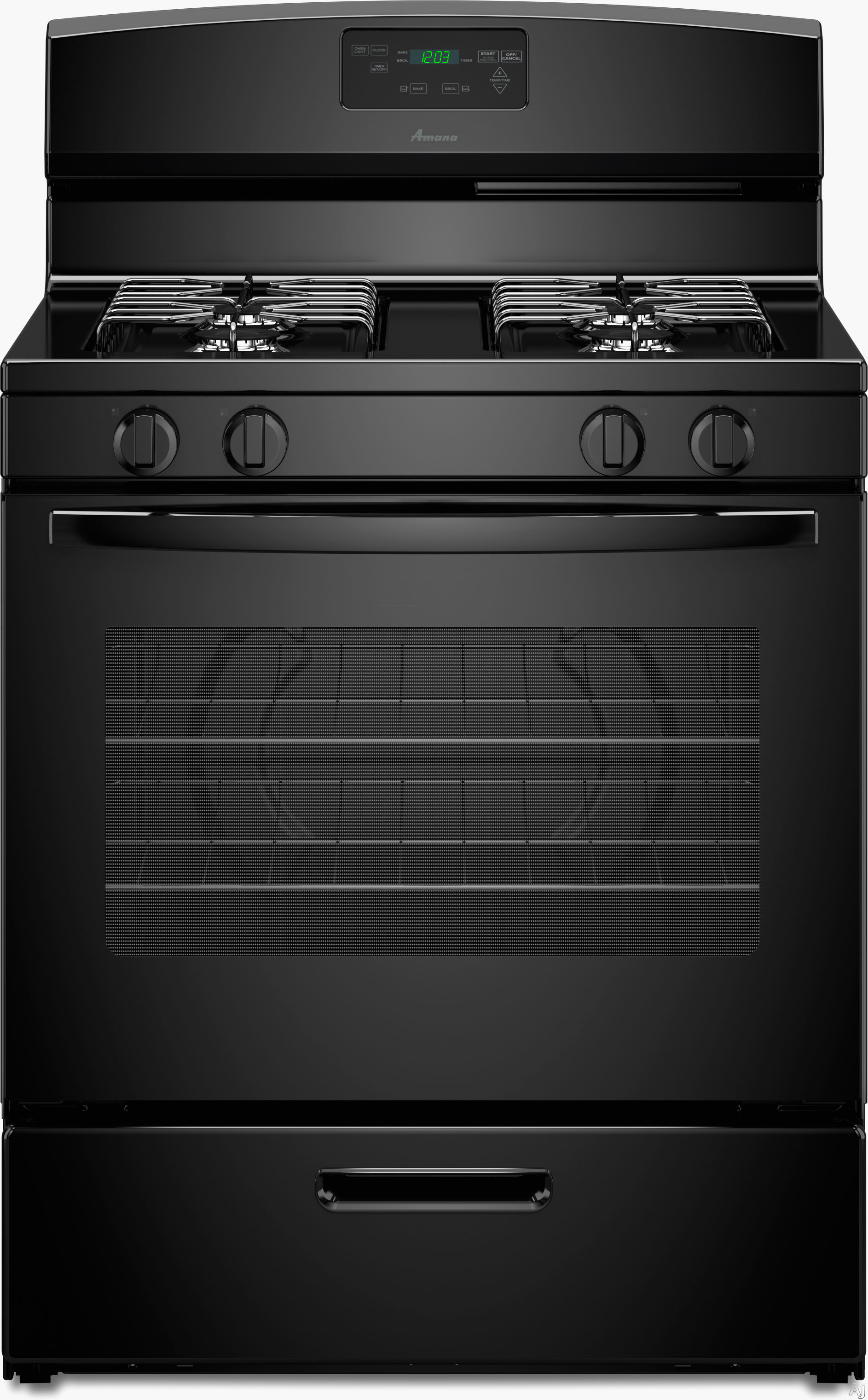 Amana AGR5330BAB 30 Inch Freestanding Gas Range with Boiler Drawer, Extra-Large Window, Easy Touch Controls, 4 Sealed Burners and 5.1 cu. ft. Oven Capacity: Black