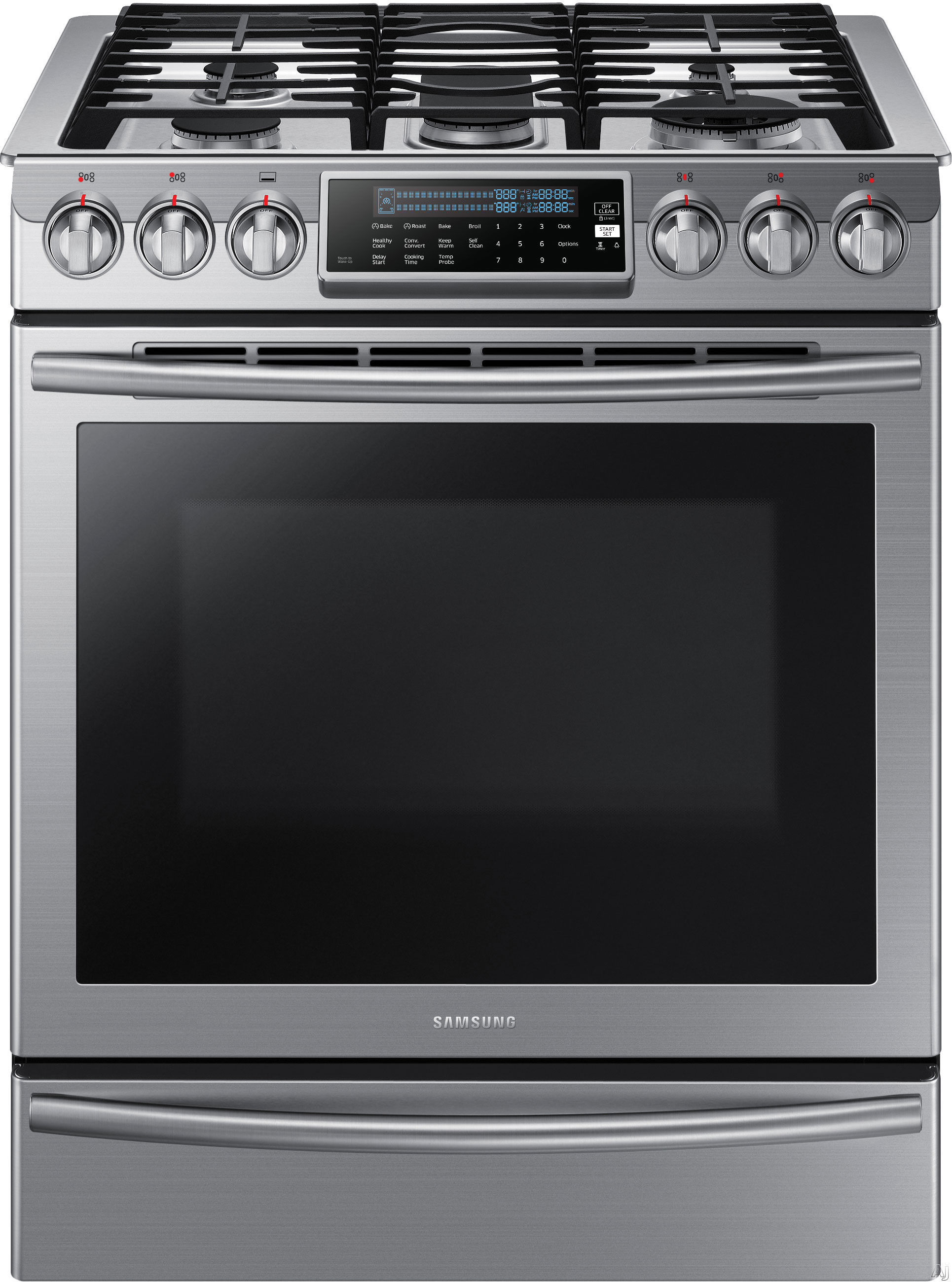 Samsung NX58H9500WS 30 Inch Slide-In Gas Range with 5.8 cu. ft. Oven, True Convection, 5 Sealed Burners, 18,000 BTU True Dual Power Burner, Reversible Griddle/Grill, Temperature Probe, Star-K Certified Sabbath Mode, Warming Drawer and Self-Cleaning Mode: