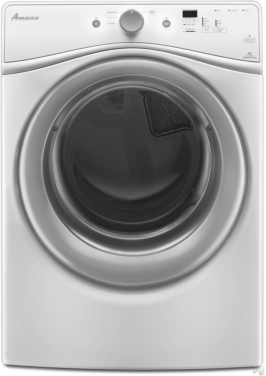 Amana NED5800DW 27 Inch Electric Dryer with 7.3 cu. ft. Capacity, 5 Drying Cycles, Efficiency Monitor, Sensor Drying, Status Indicator, Washer/Dryer Stackable Capability and ADA Compliant
