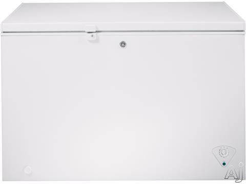Image of GE FCM11PHWW 10.6 cu. ft. Manual Defrost Chest Freezer with 3 Lift-Out Sliding Storage Baskets, Interior Lighting, Key Lock and Adjustable Temperature Control