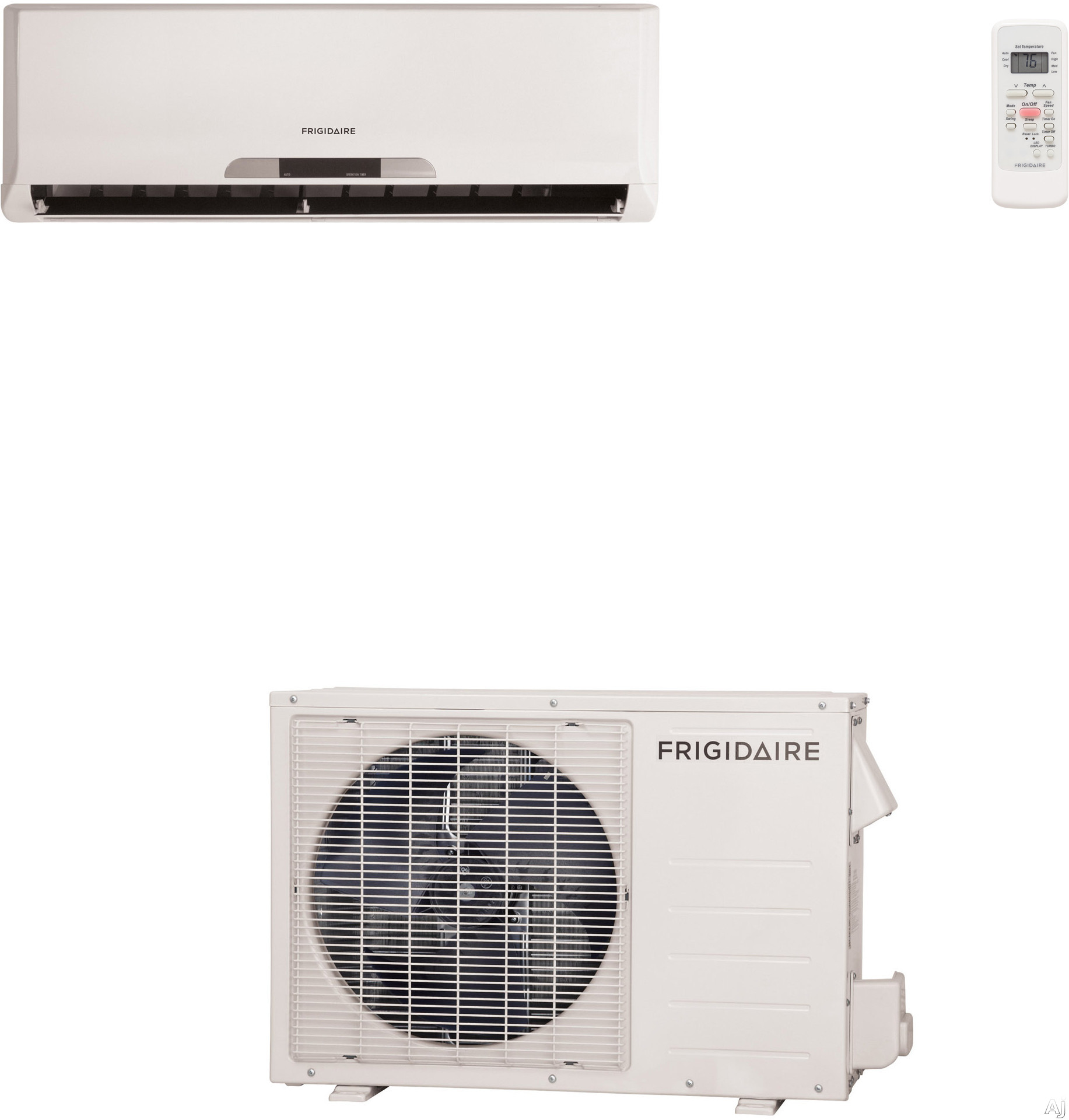 Frigidaire FRS123LS1 12,000 BTU Single Zone Wall-Mounted Mini Split Air Conditioning System with 550 sq. ft. Cooling Area, R-410A Refrigerant, 330 CFM, Advance Filtration System and Included 16' Refrigeration Line Set (FRS123LW1 Indoor/FRS123LC1 Outdoor)