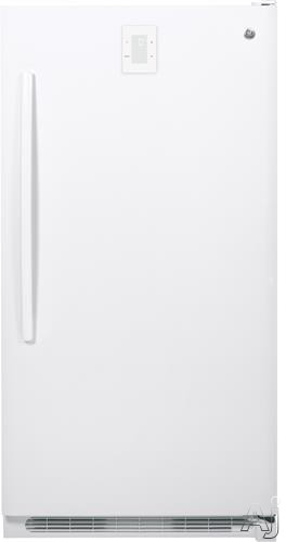 GE FUF17DHRWW 16.6 cu. ft. Upright Freezer with 4 Wire Shelves, 5 Full-Width Plastic Door Racks, 1 Slide-Out Wire Basket, Interior LED Lighting, Easy-Set Digital Tempearture Control and Automatic Defrost