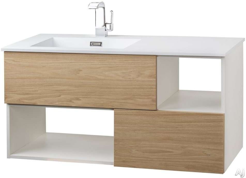 Cutler Kitchen & Bath Sangallo FVCAST42 42 Inch Wall Mount Vanity with 2 Soft Close Drawer, 2 Open Shelves, European Hardware, Matt Top and Sink: CASTING AT FIRST LIGHT