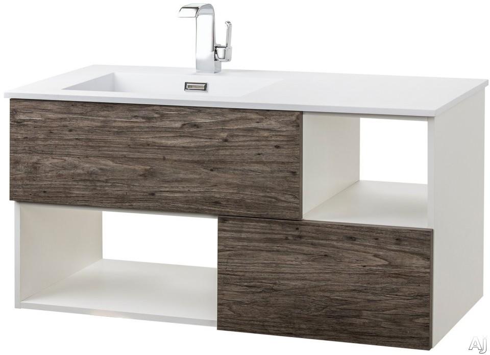 Cutler Kitchen & Bath Sangallo FVSTAR42 42 Inch Wall Mount Vanity with 2 Soft Close Drawer, 2 Open Shelves, European Hardware, Matt Top and Sink: STARGAZER