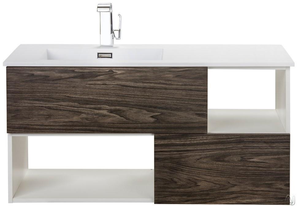Cutler Kitchen & Bath Sangallo FVTETE42 42 Inch Wall Mount Vanity with 2 Soft Close Drawer, 2 Open Shelves, European Hardware, Matt Top and Sink: TETE A TETE