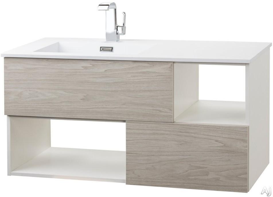 Cutler Kitchen & Bath Sangallo FVWEEKND42 42 Inch Wall Mount Vanity with 2 Soft Close Drawer, 2 Open Shelves, European Hardware, Matt Top and Sink: WEEKEND GETAWAY