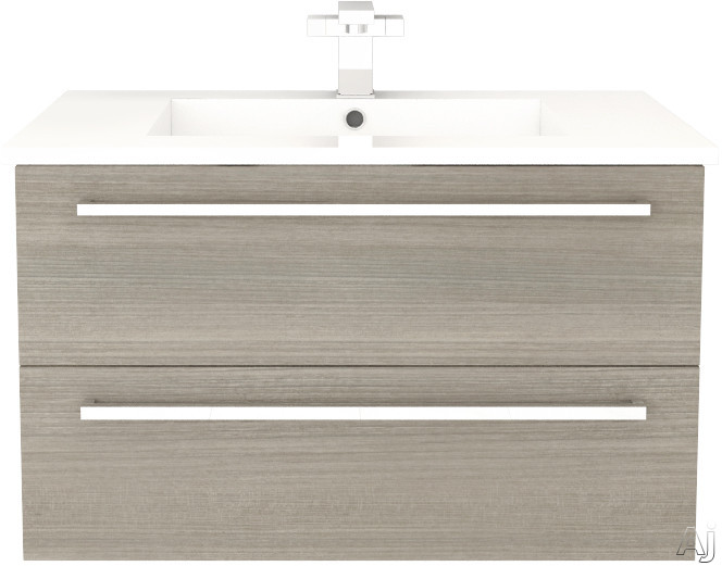 Cutler Kitchen & Bath Silhouette FVARIA30 30 Inch Wall Mount Vanity with 2 Soft Close Drawers, Countertop and Sink and Handles Included: Aria