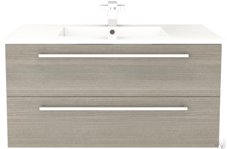 Cutler Kitchen & Bath Silhouette FVARIA36 36 Inch Wall Mount Vanity with 2 Soft Close Drawers, Countertop and Sink and Handles Included: Aria