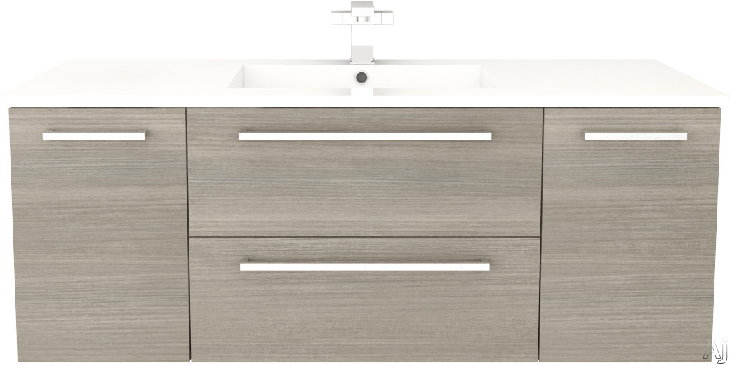 Cutler Kitchen & Bath Silhouette FVARIA48 48 Inch Wall Mount Vanity with 2 Soft Close Drawers, Countertop and Sink and Handles Included: Aria