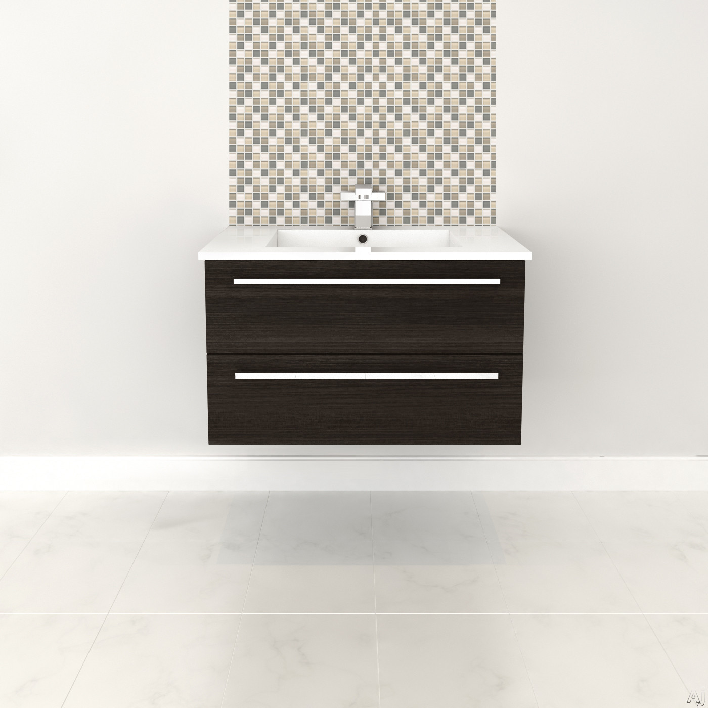 Cutler Kitchen & Bath Silhouette FVDCHOC30 30 Inch Wall Mount Vanity with 2 Soft Close Drawers, Countertop and Sink and Handles Included: Dark Chocolate