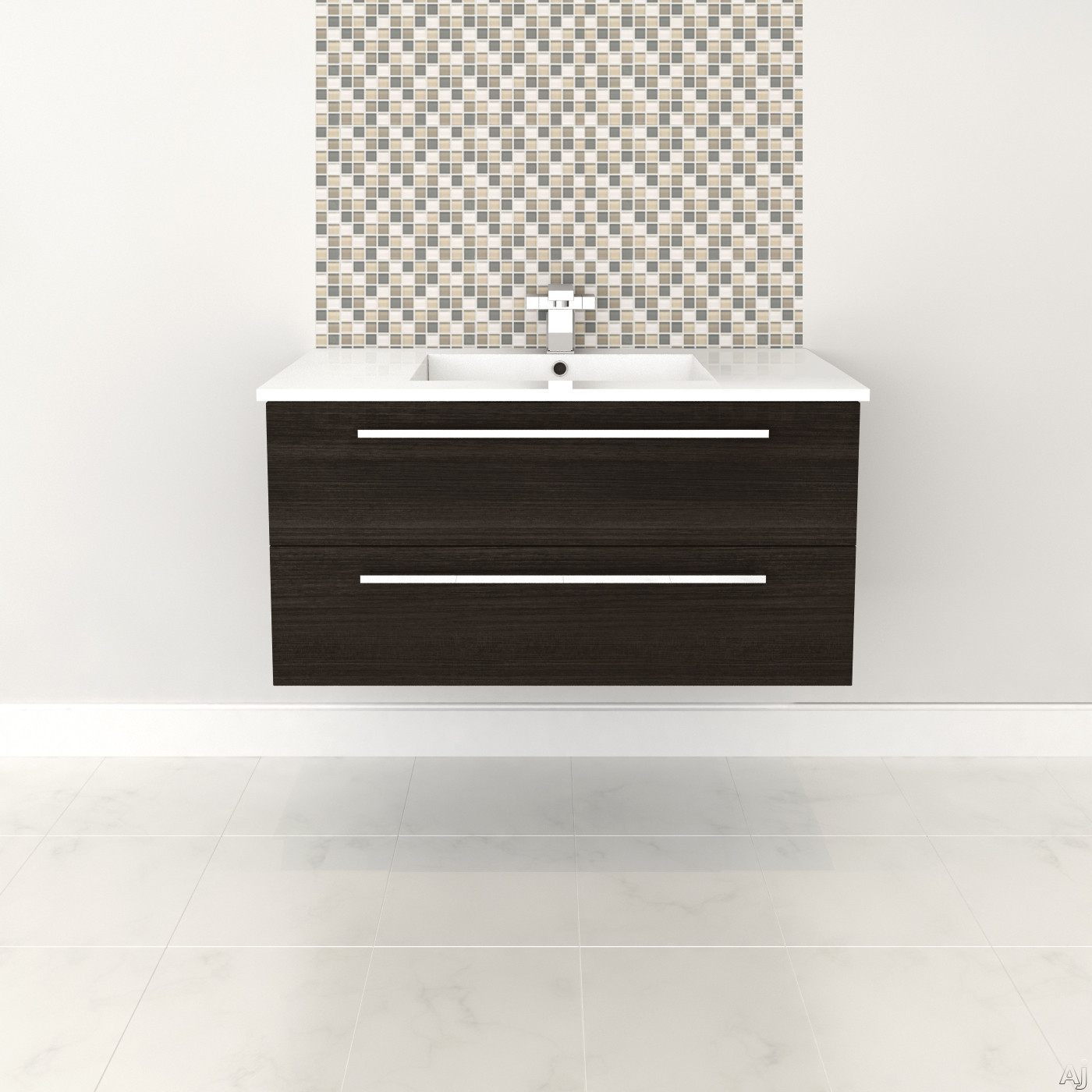 Cutler Kitchen & Bath Silhouette FVDCHOC36 36 Inch Wall Mount Vanity with 2 Soft Close Drawers, Countertop and Sink and Handles Included: Dark Chocolate