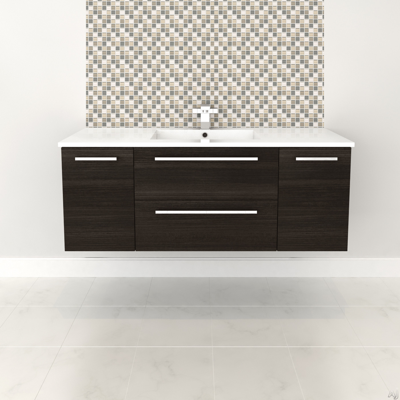 Cutler Kitchen & Bath Silhouette FVDCHOC48 48 Inch Wall Mount Vanity with 2 Soft Close Drawers, Countertop and Sink and Handles Included: Dark Chocolate