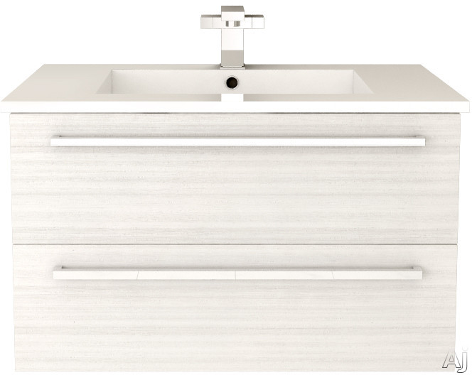 Cutler Kitchen & Bath Silhouette FVWCHOCOLATE30 30 Inch Wall Mount Vanity with 2 Soft Close Drawers, Countertop and Sink and Handles Included: White Chocolate