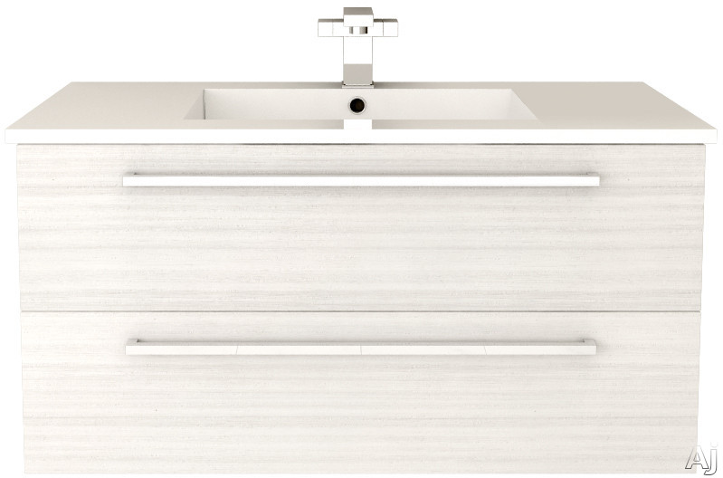 Cutler Kitchen & Bath Silhouette FVWCHOCOLATE36 36 Inch Wall Mount Vanity with 2 Soft Close Drawers, Countertop and Sink and Handles Included: White Chocolate