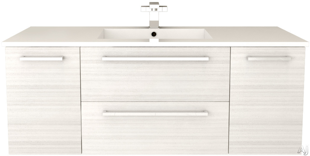 Cutler Kitchen & Bath Silhouette FVWCHOCOLATE48 48 Inch Wall Mount Vanity with 2 Soft Close Drawers, Countertop and Sink and Handles Included: White Chocolate