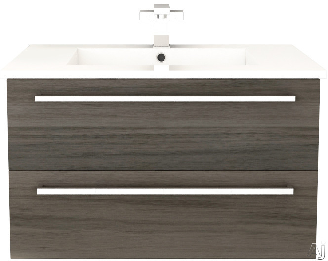 Cutler Kitchen & Bath Silhouette FVZAMBUKKA30 30 Inch Wall Mount Vanity with 2 Soft Close Drawers, Countertop and Sink and Handles Included: Zambukka
