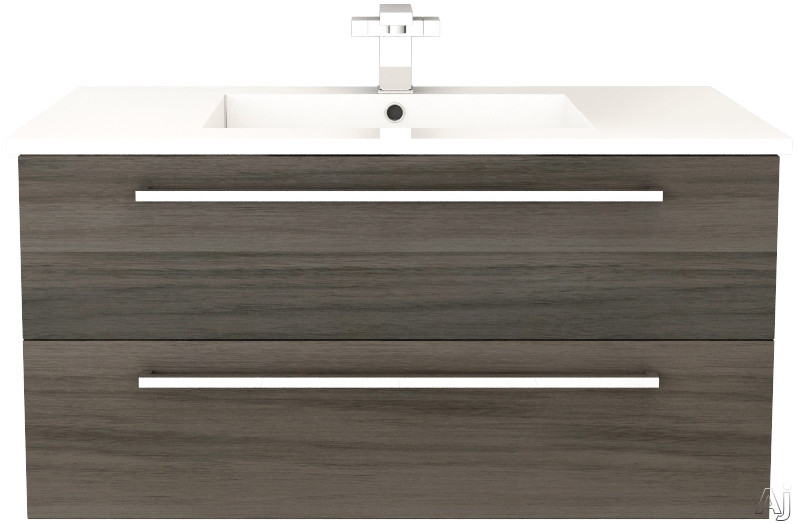 Cutler Kitchen & Bath Silhouette FVZAMBUKKA36 36 Inch Wall Mount Vanity with 2 Soft Close Drawers, Countertop and Sink and Handles Included: Zambukka