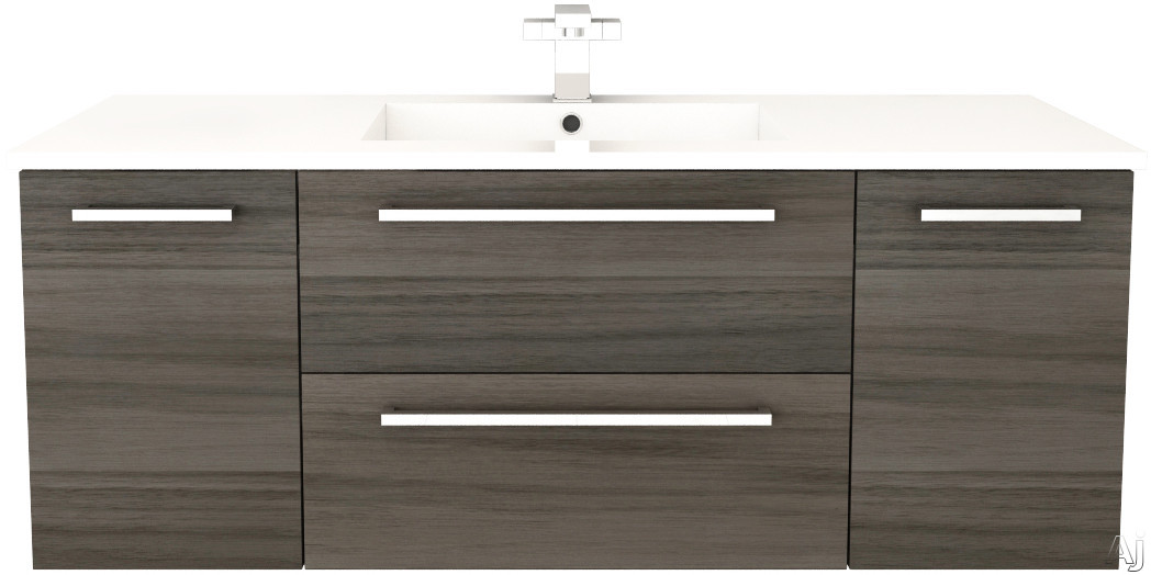 Cutler Kitchen & Bath Silhouette FVZAMBUKKA48 48 Inch Wall Mount Vanity with 2 Soft Close Drawers, Countertop and Sink and Handles Included: Zambukka