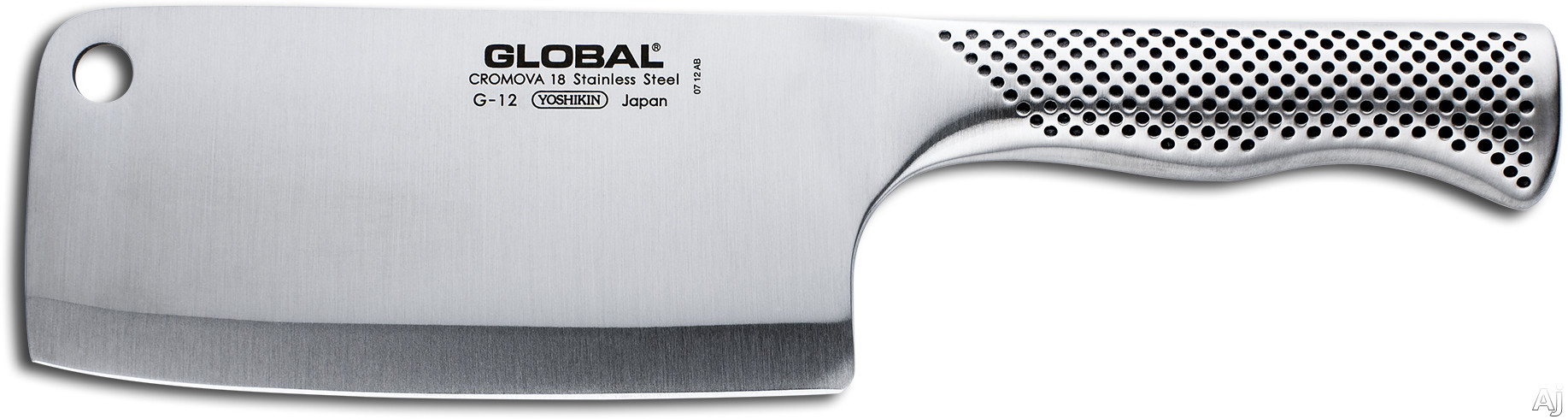 Global G12 6-1/4 Inch Meat Cleaver with Cromova Tempered Stainless Steel, Hollow Weighted Handle, Made in Japan, 2 Year Warranty and Hand Wash Only