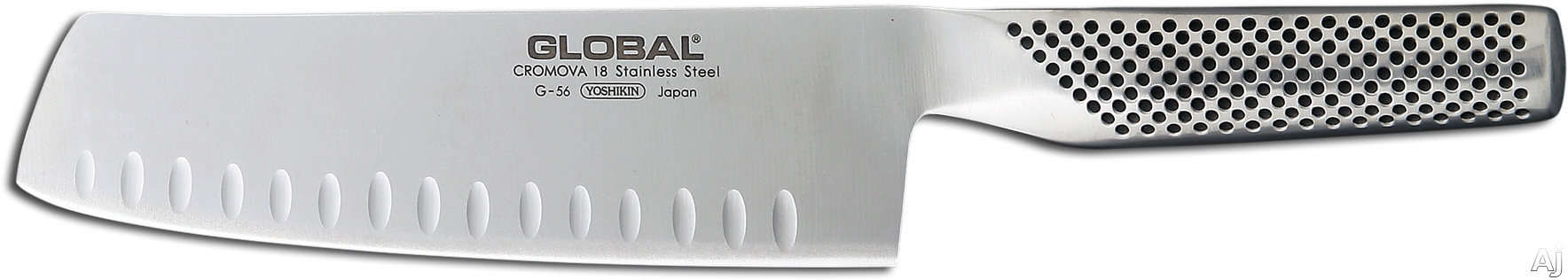 Global G56 7 Inch Fluted Vegetable Knife with Cromova Tempered Stainless Steel, Hollow Weighted Handle, Made in Japan, 2 Year Warranty and Hand Wash Only