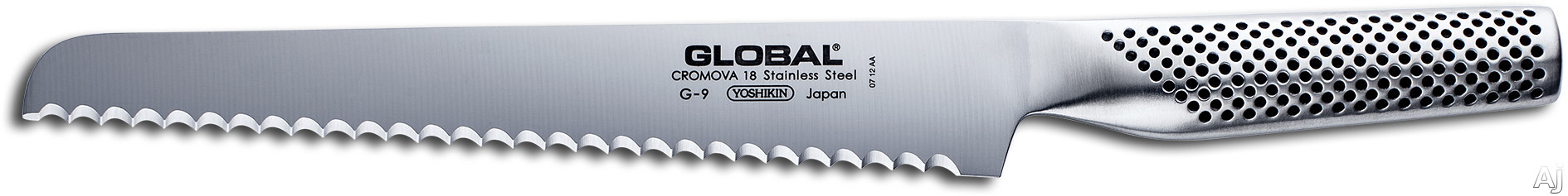 Global G9A 8-1/2 Inch Serrated Bread Knife with Cromova Tempered Stainless Steel, Hollow Weighted Handle, Made in Japan and 2 Year Warranty