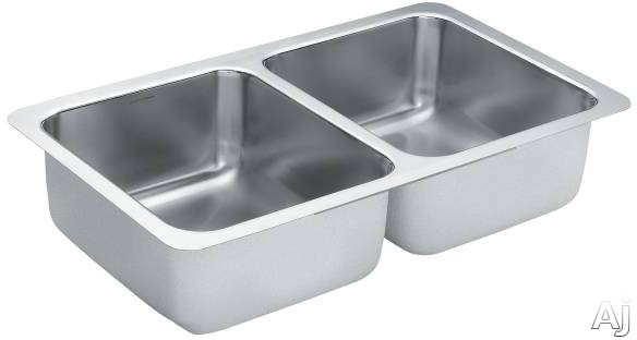 Moen 1800 G18212B 32 Inch Double Bowl Stainless Steel Sink with 18 Gauge and SoundShield Sink Template Included