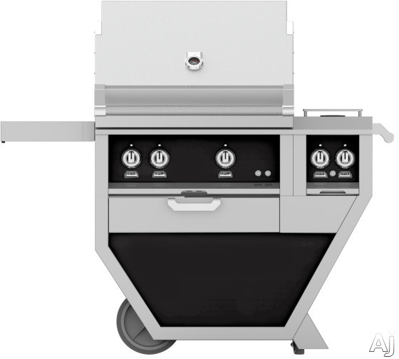 Hestan GMBR30CX2BK 49 Inch Freestanding Grill with Rotisserie, Sear Burner, Warming Rack, 49 Inch Freestanding Grill, 525 sq. in. Grilling Area, Trellis Burner, Double Side Burner, 92,000 BTU, Horizon