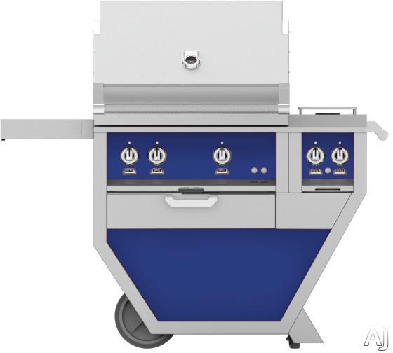 Hestan GMBR30CX2BU 49 Inch Freestanding Grill with Rotisserie, Sear Burner, Warming Rack, 49 Inch Freestanding Grill, 525 sq. in. Grilling Area, Trellis Burner, Double Side Burner, 92,000 BTU, Horizon