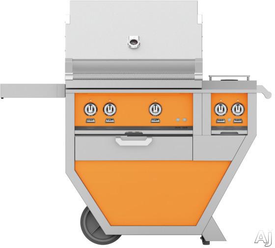 Hestan GMBR30CX2OR 49 Inch Freestanding Grill with Rotisserie, Sear Burner, Warming Rack, 49 Inch Freestanding Grill, 525 sq. in. Grilling Area, Trellis Burner, Double Side Burner, 92,000 BTU, Horizon