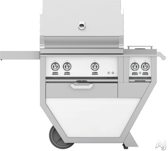 Hestan GMBR30CX2WH 49 Inch Freestanding Grill with Rotisserie, Sear Burner, Warming Rack, 49 Inch Freestanding Grill, 525 sq. in. Grilling Area, Trellis Burner, Double Side Burner, 92,000 BTU, Horizon
