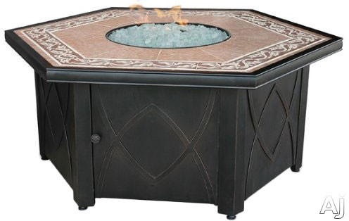 Blue Rhino GAD1380SP Outdoor LP Gas Fireplace with 30,000 BTU, Electronic Ignition, Hexagonal Design, Decorative Tile Mantle and White Glass Included
