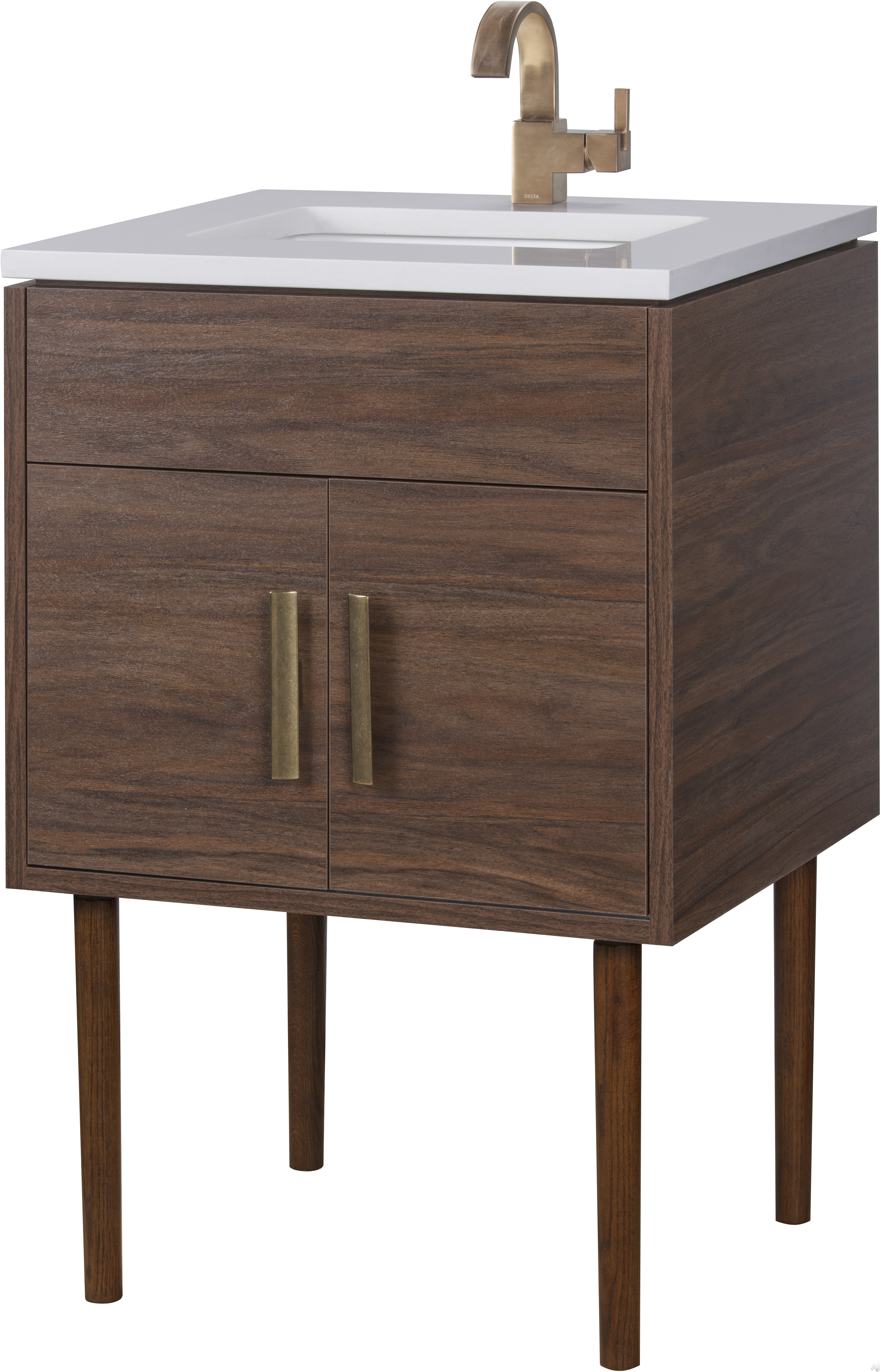 Cutler Kitchen & Bath Garland MIDCNT24 24 Inch Freestanding Bathroom Vanity with 2 Soft Close Doors, Countertop and Sink and European Soft-Close Hardware