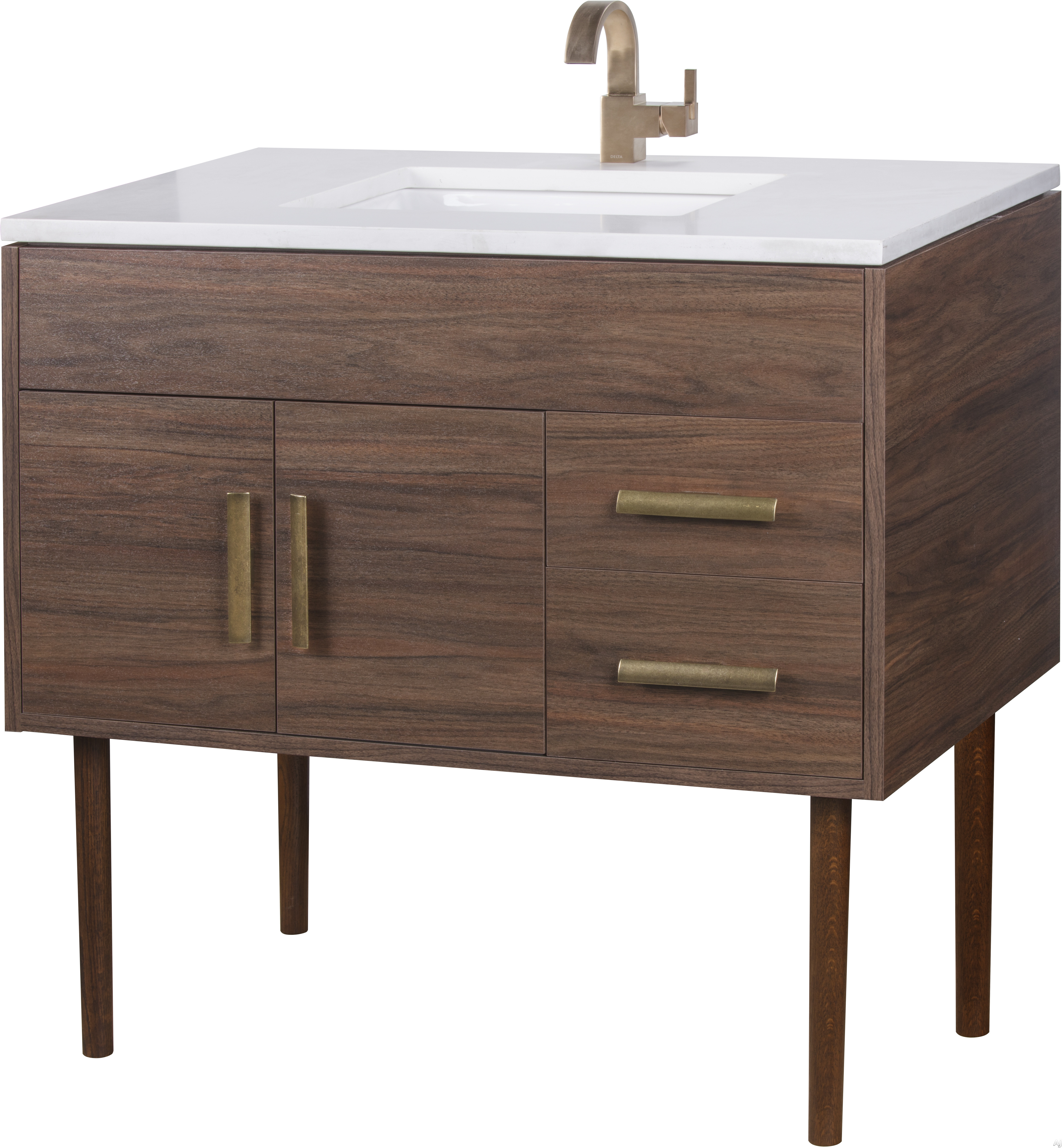 Cutler Kitchen & Bath Garland MIDCNT36 36 Inch Freestanding Bathroom Vanity with 2 Soft Close Doors, Countertop and Sink and European Soft-Close Hardware
