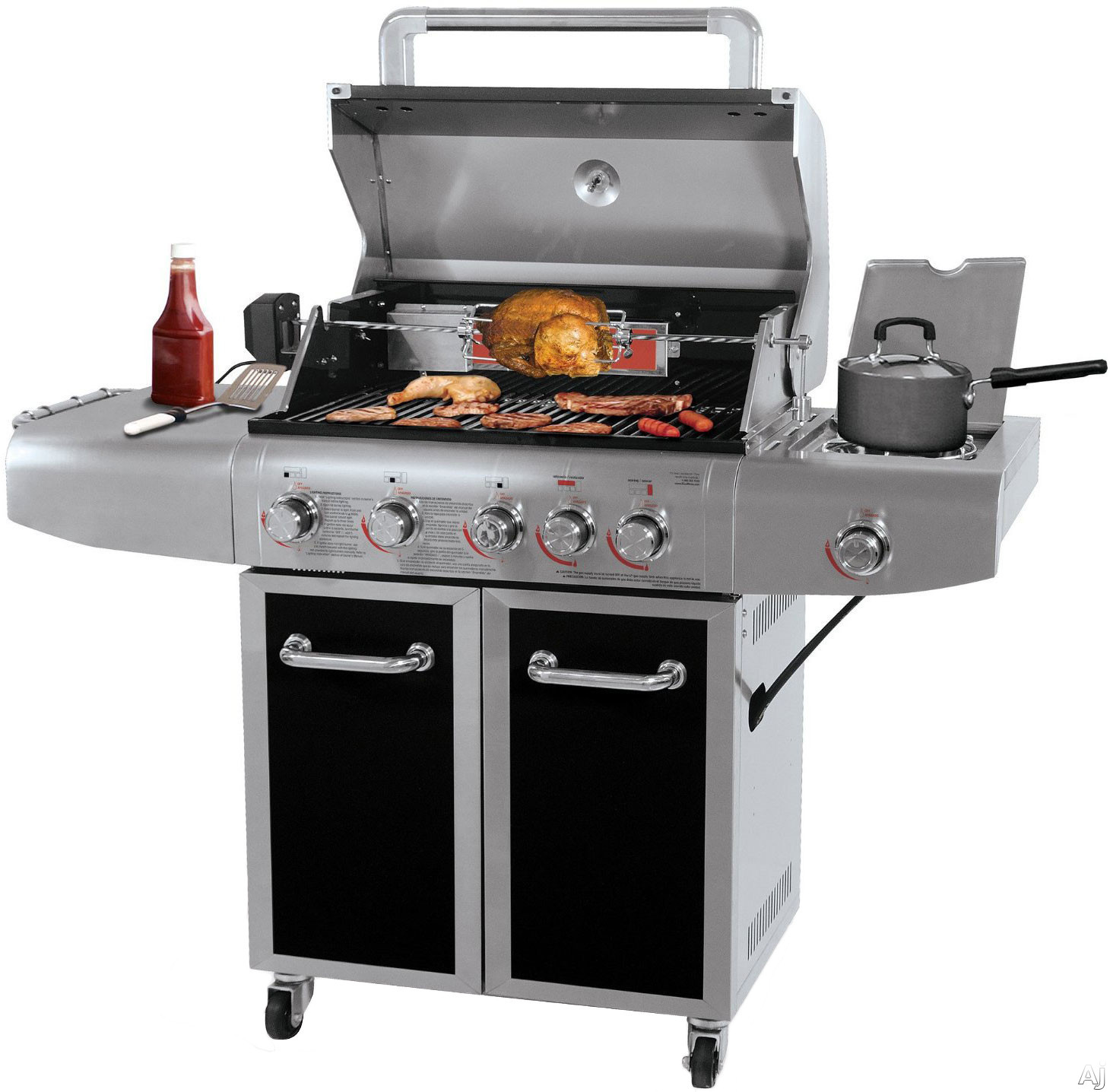 Blue Rhino GBC1273SP 60 Inch Freestanding Gas Grill with Infrared Sear Burner, Rotisserie Burner, Rotisserie Kit, 500 sq. in. Cooking Area, 72,000 BTU and 3 Main Burners GBC1273SP