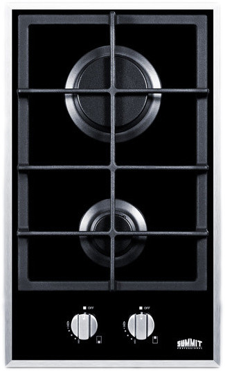 Summit GC2BGL 12 Inch Gas Cooktop with 2 Sealed Burners, Continuous Cast Iron Grate, Electronic Ignition and Smooth Black Ceramic Glass Surface