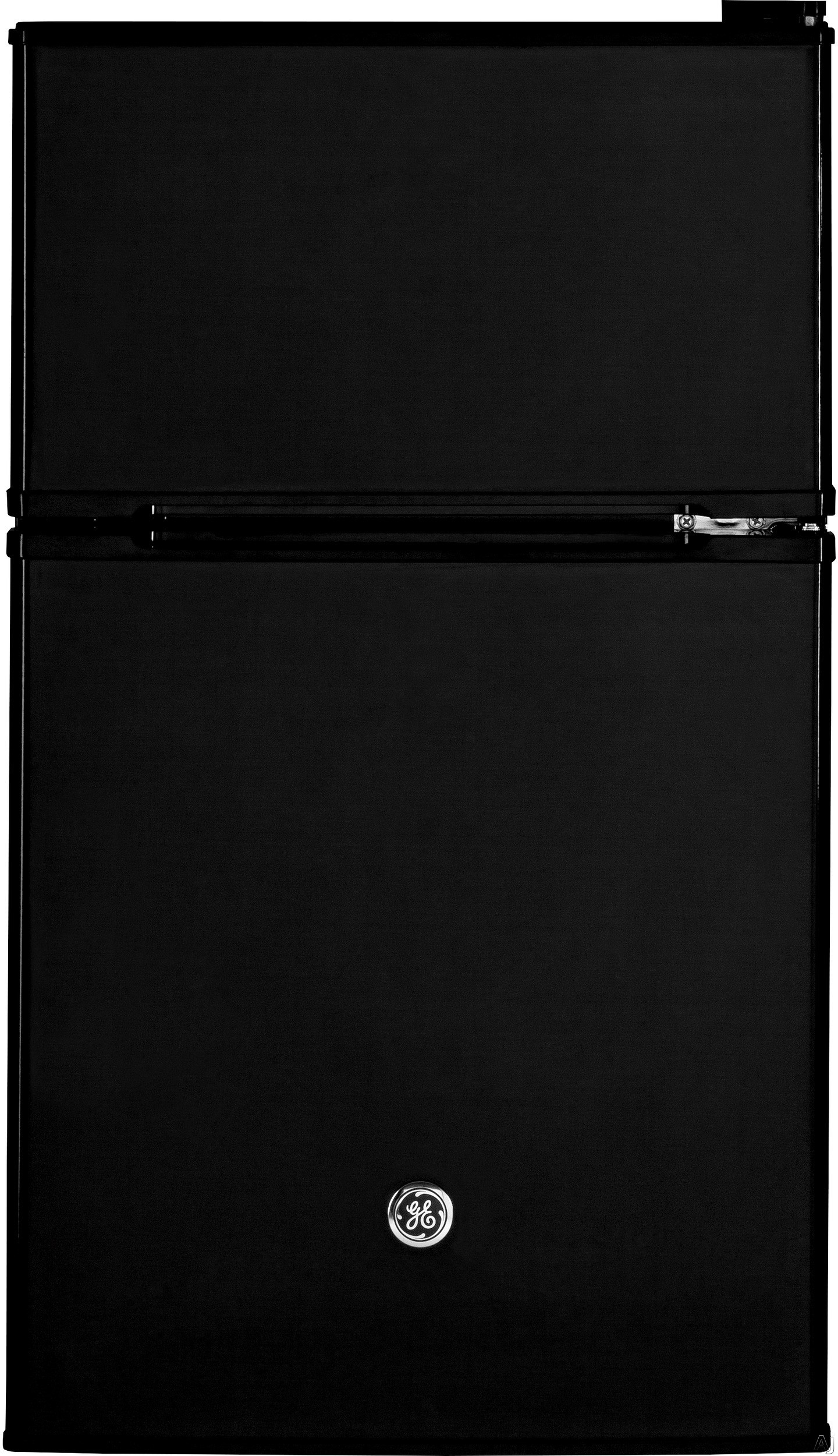 GE GDE03GGKBB 19 Inch Top Freezer Compact Refrigerator with 2 Glass Shelves, Storage Drawer, 2 Door Bins, Beverage Can Door Bin, Freezer Door Bin, ENERGY STAR and Mini Ice Cube Tray: Black
