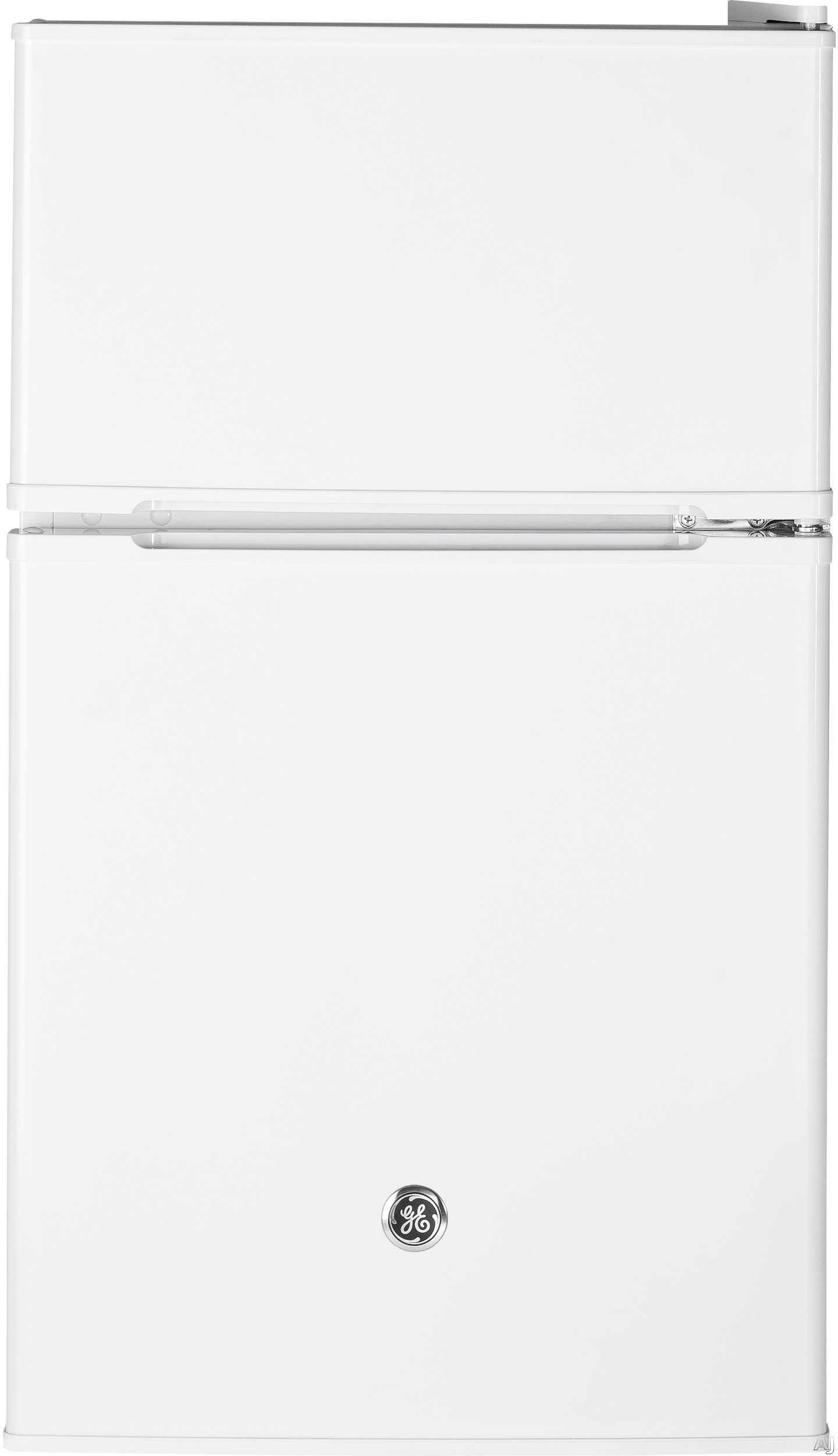 GE GDE03GGKWW 19 Inch Top Freezer Compact Refrigerator with 2 Glass Shelves, Storage Drawer, 2 Door Bins, Beverage Can Door Bin, Freezer Door Bin, ENERGY STAR and Mini Ice Cube Tray: White