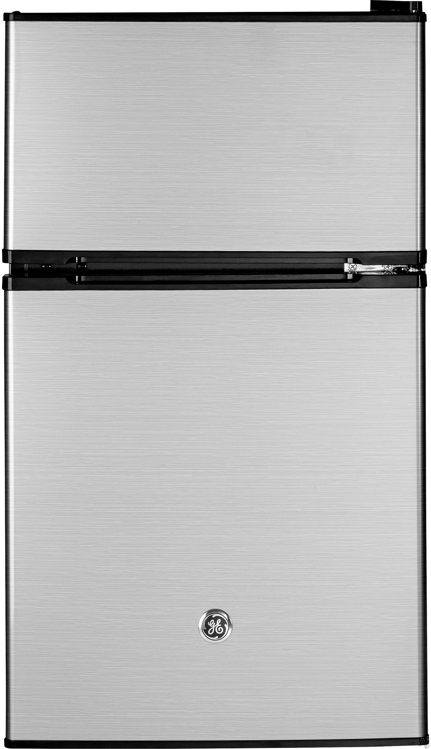 GE GDE03GK 19 Inch Top Freezer Compact Refrigerator with 2 Glass Shelves, Storage Drawer, 2 Door Bins, Beverage Can Door Bin, Freezer Door Bin, ENERGY STAR and Mini Ice Cube Tray