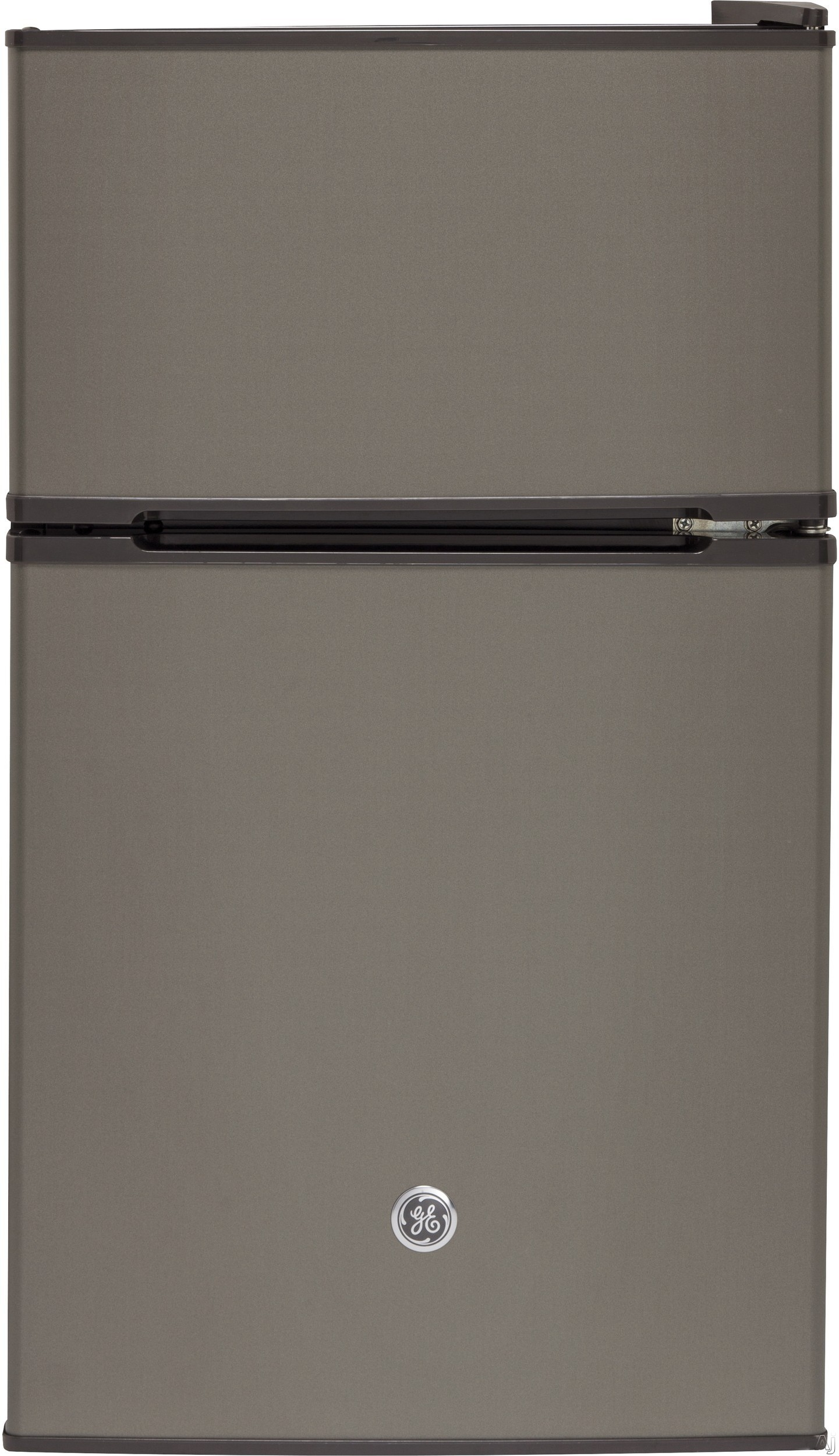 GE GDE03GMKED 19 Inch Top Freezer Compact Refrigerator with 2 Glass Shelves, Storage Drawer, 2 Door Bins, Beverage Can Door Bin, Freezer Door Bin, ENERGY STAR and Mini Ice Cube Tray: Slate