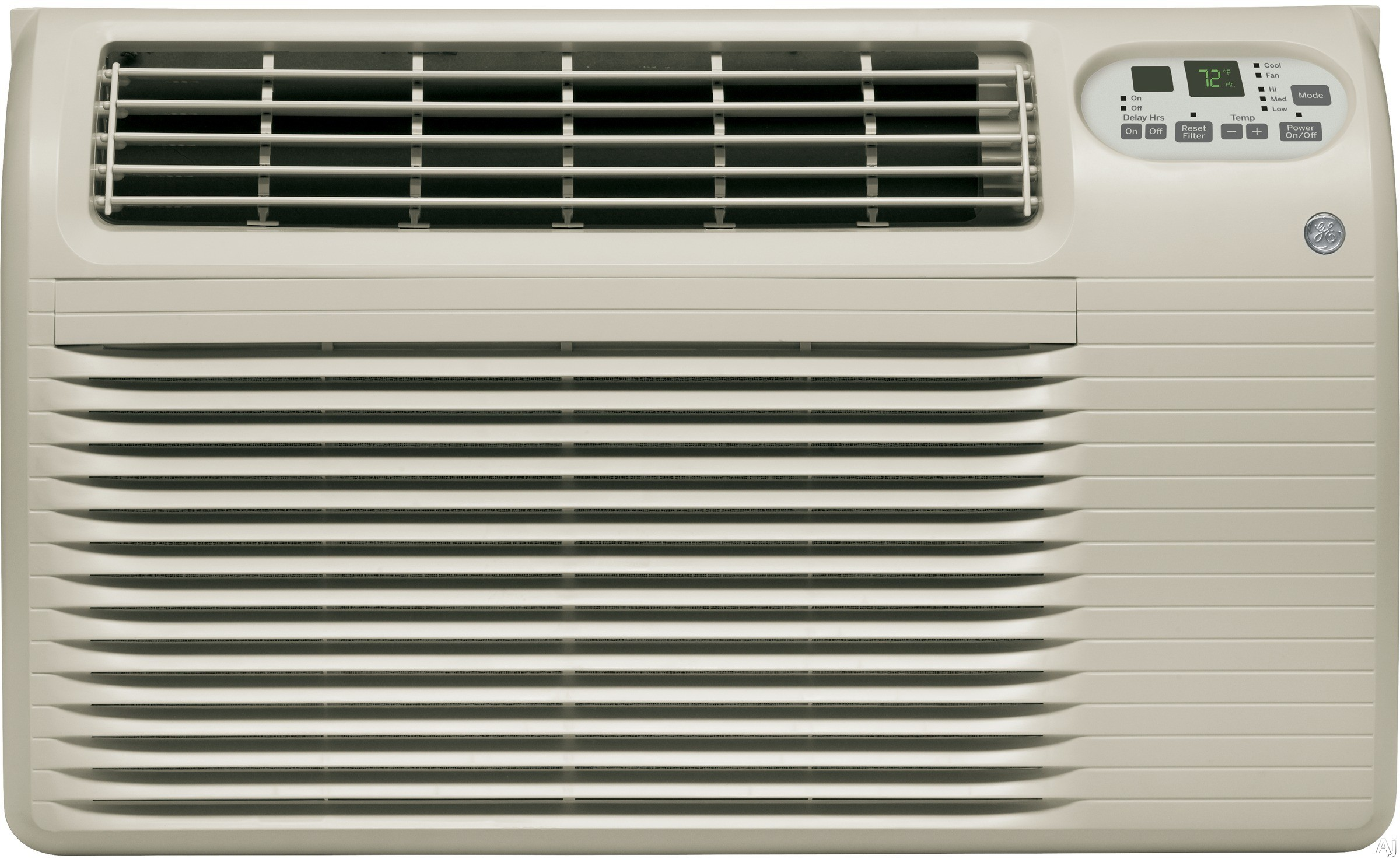 GE AJCQ12DCG 11 800 BTU Wall Air Conditioner with 270 CFM 10.6 EER 3.4 Pts Hr Dehumidification Capacity Washable Filter 3 Fan Speeds Electronic Digital Thermostat Control ADA Compliant and ENERGY STAR