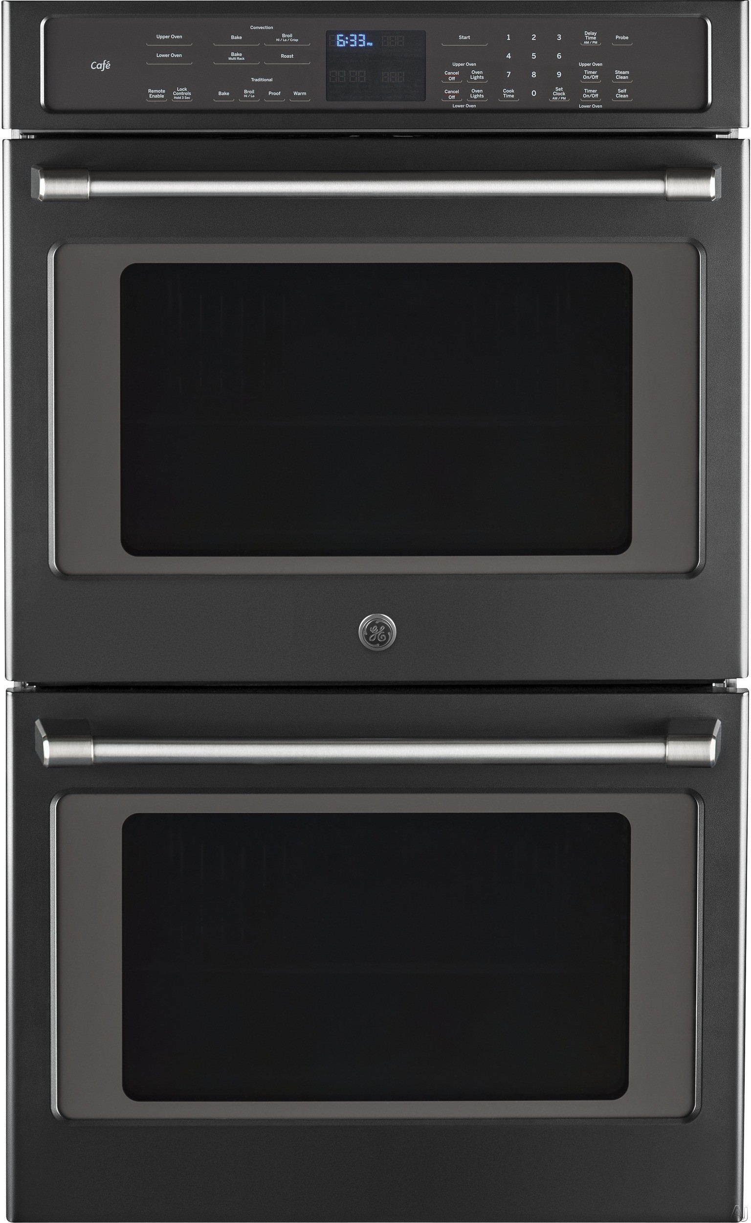 ge cafe series ct9550ekds 30 inch double wall oven with 10 0 cu ft capacity true european. Black Bedroom Furniture Sets. Home Design Ideas