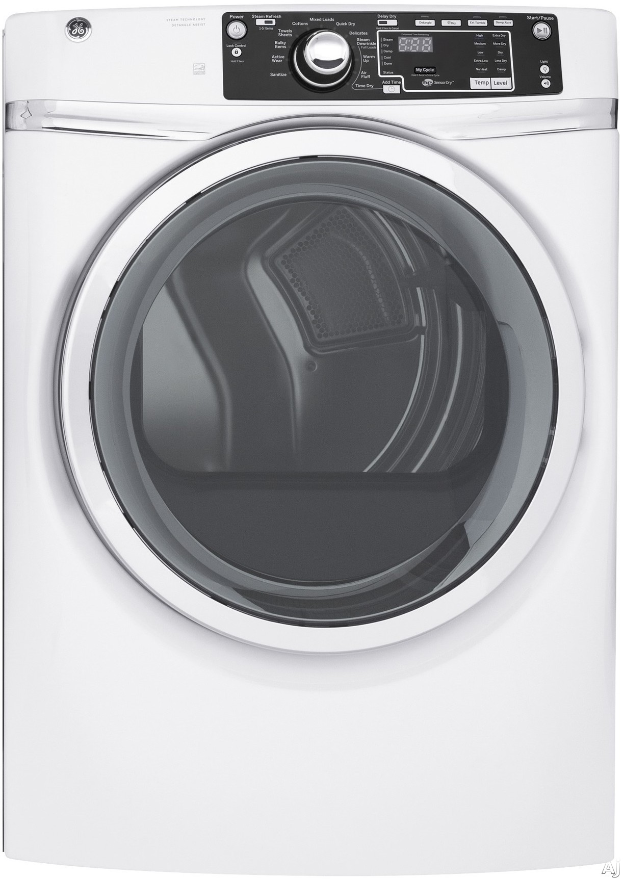 GE GFD48ESS 28 Inch Electric Dryer with 8.3 cu. ft. Capacity, 13 Cycle Selections, Detangle Assist Option, Steam, Sensor Dry, Sanitize Cycle, ADA Compliant Design and ENERGY STAR