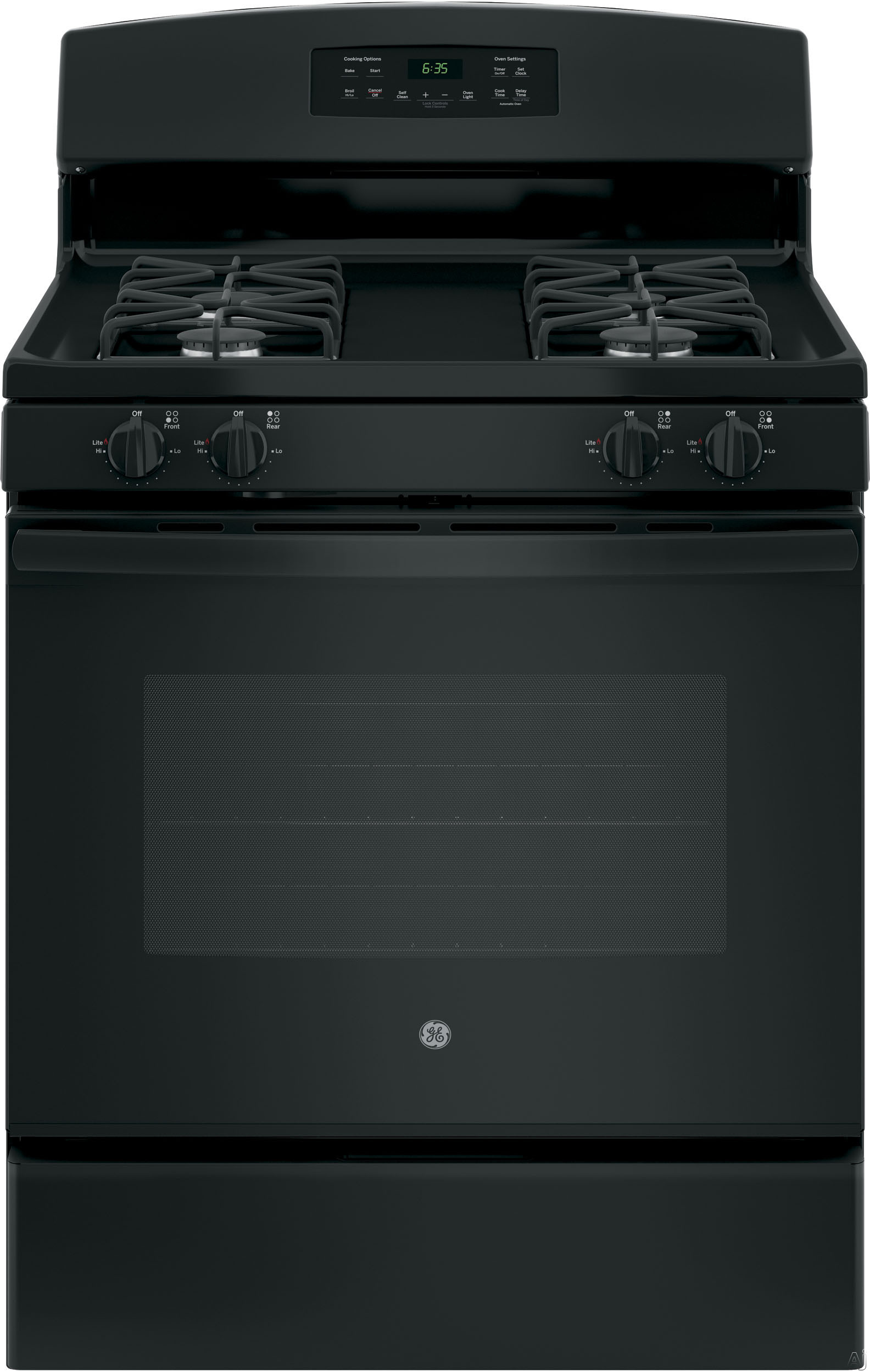 GE JGB635DEKBB 30 Inch Freestanding Gas Range with Precise Simmer Burner, Storage Drawer, Self-Clean, In-Oven Broiler, 4 Sealed Burners, 5.0 cu. ft. Capacity and Star-K Certified: Black