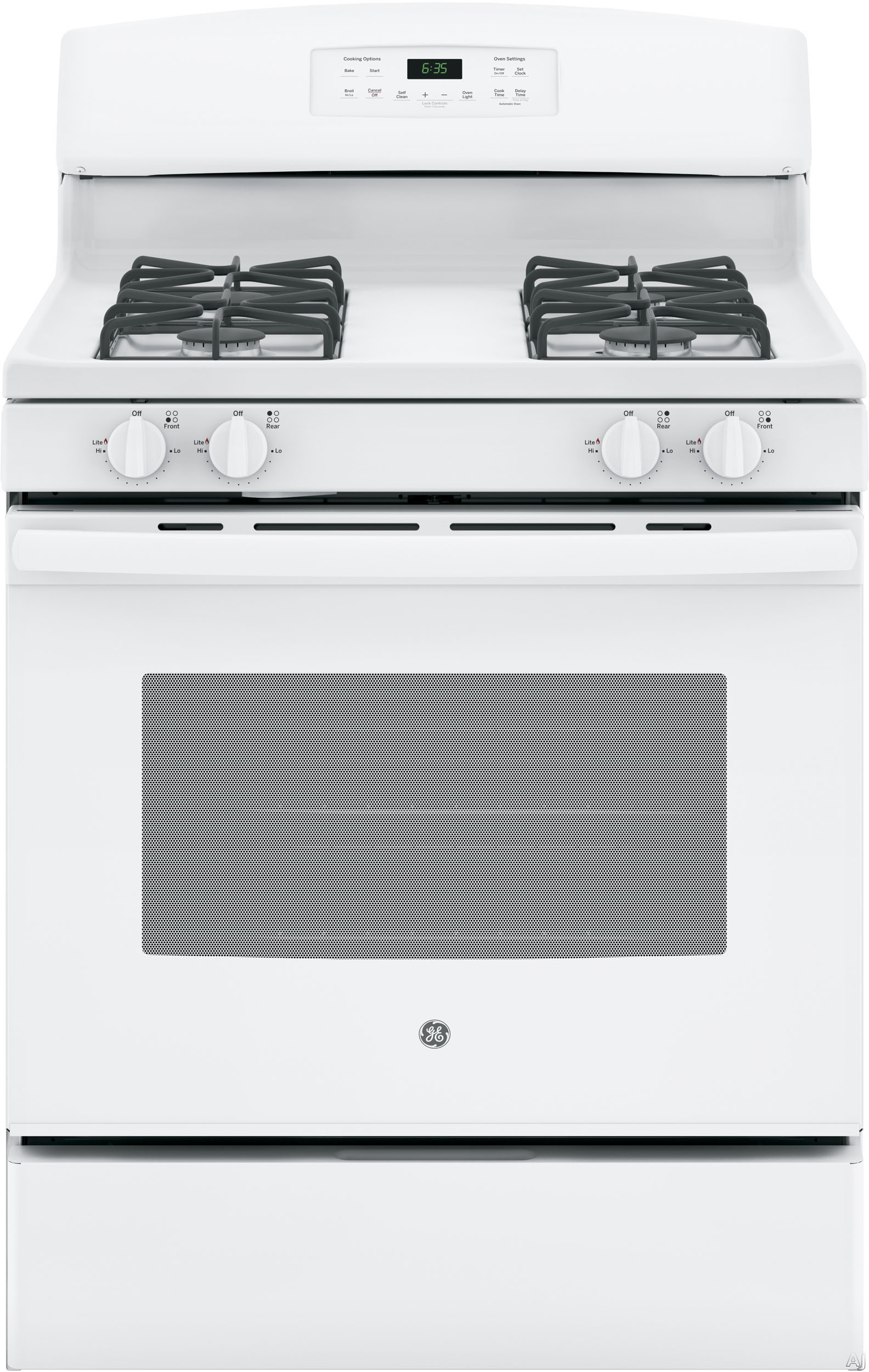 GE JGB635DEKWW 30 Inch Freestanding Gas Range with Precise Simmer Burner, Storage Drawer, Self-Clean, In-Oven Broiler, 4 Sealed Burners, 5.0 cu. ft. Capacity and Star-K Certified: White