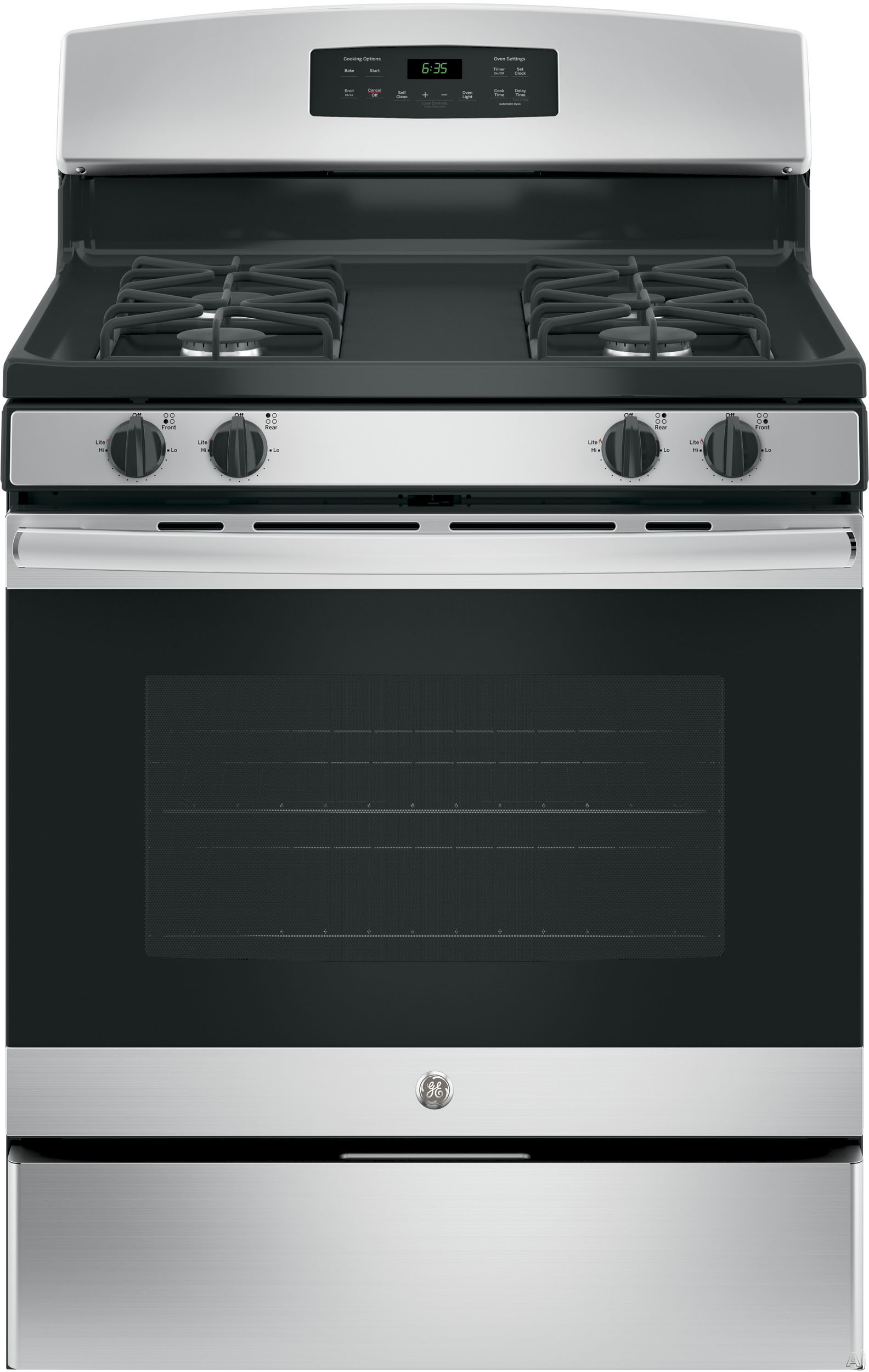 GE JGB635REKSS 30 Inch Freestanding Gas Range with Precise Simmer Burner, Storage Drawer, Self-Clean, In-Oven Broiler, 4 Sealed Burners, 5.0 cu. ft. Capacity and Star-K Certified: Stainless Steel